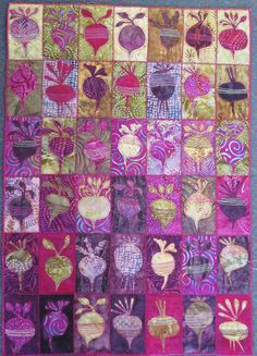 Beet root quilt by Gillian Travis (UK) - Her appliqué quilts of people (which I couldn't pin) are wonderful. Scrappy Quilts, Mini Quilts, Quilting Projects, Quilting Designs, Quilting Ideas, Textiles, Quilt Modernen, Colorful Quilts, Purple Quilts