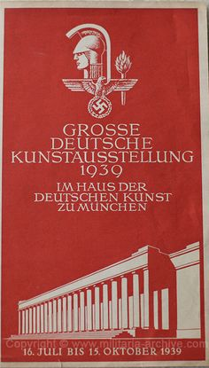 Flyer - Greater German Art Exhibition, House of German Culture Munich, 16 July - 15 October 1939