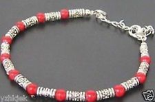 New in Tibet style Tibetan silver charming coral beads bracelet