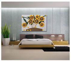 3D Framed Wall Art Handmade artifical leather Sunflower Width Sculptures #Handmade #AsianOriental
