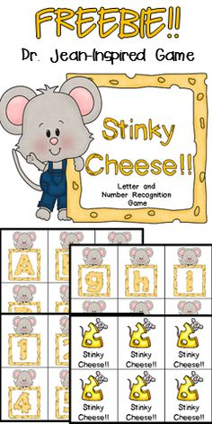 "FREE Game!! Check out this Dr. Jean-inspired game to use in your preschool or kindergarten classroom!! In this game, students choose a card from the bag/box/bucket and name the letter, sound, number, or sight word on the card!! But, watch out because some of the cards are ""Stinky Cheese!!"" You have to watch Dr. Jean's video to see how students should react to ""Stinky Cheese!!"""