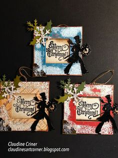claudines art corner christmas ornaments using tim holtz holiday stamp set