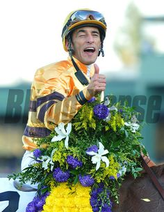 John Velazquez after winning the Breeders Cup Mile.... © 2012 Rick Samuels/The Blood-Horse