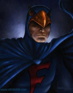 The Blue Falcon! Just wanted to give him a little respect without Dynomutt getting in the way. The BLUE FALCON! Pulp Fiction Characters, Comic Book Characters, Comic Book Heroes, Comic Books Art, Book Art, 70s Cartoons, Nickelodeon Cartoons, Hanna Barbera, Saturday Morning Cartoons