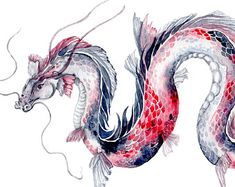 Koi Dragon - Aquarell Kunstdruck 8 & x 10 & & Fischschuppen rosa und schwarz Bad . - Koi Dragon – Aquarell Kunstdruck 8 & x 10 & & Fischschuppen rosa un - Art Aquarelle, Watercolor Art, Watercolor Dragon Tattoo, Chinese Dragon Tattoos, Chinese Dragon Drawing, Koi Dragon Tattoo, Chinese Art, Koi Kunst, Koi Art