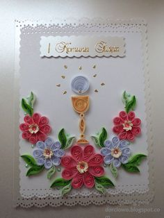 Quilling Birthday Cards, Quilling Cards, New Crafts, Diy And Crafts, Paper Crafts, Quilling Jewelry, Religious Symbols, First Holy Communion, Mothers Day Cards