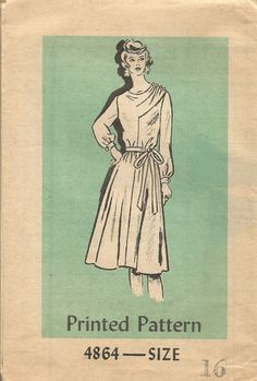 Vintage Mail Order Tissue Dress Pattern 4864 circa 1970's size 16 Bust 38 by EvaStAlbans on Etsy