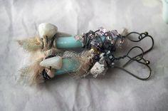 Assemblage Earrings  Beaded Ocean Daggers  by shipwreckdandy  LOVE!!