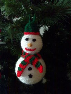 Knitted  Snowman Christmas Ornament