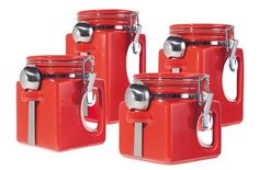 Oggi EZ Grip Handle 4-Piece Ceramic Airtight Canister Set, Red by Oggi. $39.95. Chrome locking clamps with silicone gaskets ensures an airtight seal. Set of 4 red EZ Grip handle airtight ceramic canisters with stainless steel spoons. Dishwasher safe, top rack only. Hinged lid. Containers are 5-1/4, 6, 7, and 8-Inch in height. With innovative designs and contemporary finishes, Oggi's kitchen and bath wares are truly tomorrow's housewares today. Oggi's 4 Piece EZ Grip Airtigh...