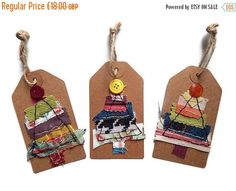 Christmas In July Multipack 15 christmas tags, handmade tags, fabric tags, stitched gift tags, wine bottle decoration,kraft tags, christmas