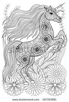 Zentangle Stylized Unicorn With Flowers Hand Drawn Ethnic Animal For Adult Coloring Pages Art