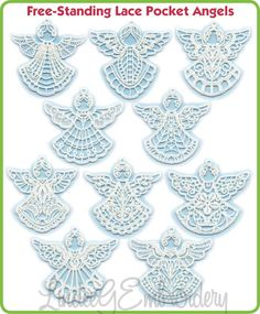 Free Standing Lace Pocket Angels 1 by Lindee G Embroidery - collection of 10 3 x 3 inch