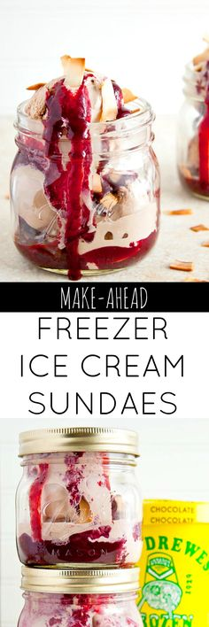 Make these ice cream sundaes with mixed berry caramel ahead of time and keep them in the freezer for when you need them. A great make ahead dessert! Freezer friendly meals!