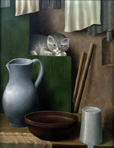 Georg Schrimpf (German expressionist painter 1889-1938), Nature morte avec chat, 1923