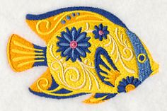 Flower Power Tropical Fish design (M5100) from www.Emblibrary.com