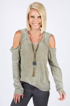 Cold Shoulder Burnout Sweatshirt LIGHTOLIVE