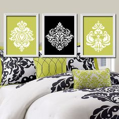 Lime Green Black White Damask Ornamental Design Artwork Set of 3 Trio Prints Wall Decor Abstract Art Bedroom Bathroom Silhouette