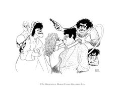 "AL HIRSCHFELD'S ""THE RITZ,"" depicting JERRY STILLER, JACK WESTON, RITA MORENO, KAYE BALLARD, F. MURRAY ABRAHAM, TREAT WILLIAMS, AND GEORGE COULOURIS. Original Crow Quill Pen & Ink Drawing on Artists' Board, Hand signed by Al Hirschfeld in ink, 1976, 21"" (h) x 27"" (w), Al Hirschfeld Archive #694"