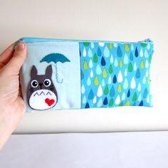Totoro with umbrella pouch / pencil case with rain by yael360