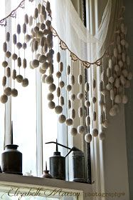 French gumball fringe on a window valance - how pretty!!!