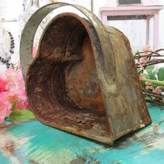 Old rusty crusty heart basket farm house metal home decor photo prop anita spero