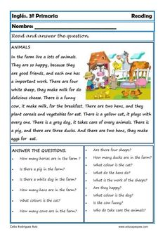 Indice de contenido1 Fichas de Inglés para Tercero Primaria.Reading and writting.1.1 Reading and writting. Fichas de Inglés para Tercero Primaria1.1.1 First Grade Reading Comprehension, Reading Comprehension Worksheets, Reading Fluency, Reading Passages, Reading Skills, English Teaching Resources, English Worksheets For Kids, English Lessons For Kids, Kindergarten Spelling Words