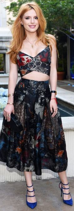 Bella Thorne in a floral bustier top and a matching full midi-length skirt