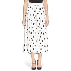 Oscar de la Renta Floral FilCoupe Midi Skirt ($2,290) ❤ liked on Polyvore featuring skirts, white midi skirt, mid calf skirts, flower print skirt, knee length a line skirt and floral a line skirt