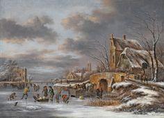 Claes Molenaer - Winterlandschap met schaatsers