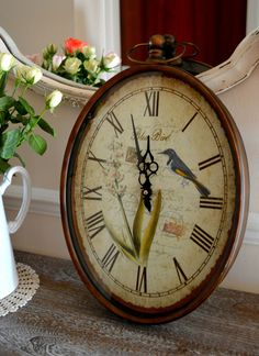 51cm Large Shabby Vintage Metal Blue Bird Art Home Decoration Ornate Wall Clock