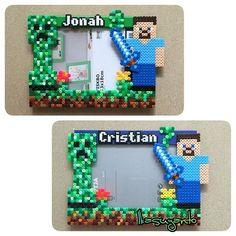 Minecraft photo frame perler beads by ikasuyanto