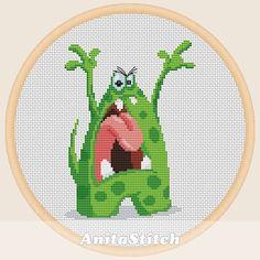 Angry monster  Cross stitch pattern от AnitaStitch на Etsy Cross Stitch Rose, Cross Stitch Baby, Cross Stitching, Cross Stitch Embroidery, Peppa Pig Family, Baby Cross Stitch Patterns, Halloween Cross Stitches, Cute Monsters, Crochet Cross