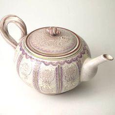 清水焼+紫彩花紋ティーポット 陶楽