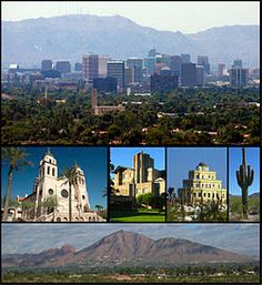 Phoenix AZ, capital and 6th largest city in US. top, left to right: Downtown Phoenix skyline, Saint Mary's Basilica, Arizona Biltmore Hotel, Tovrea Castle, a saguaro cactus, Camelback Mountain . . . Valley of the Sun