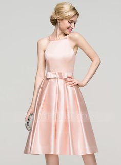 A-Line/Princess Square Neckline Knee-Length Bow(s) Zipper Up Spaghetti Straps Sleeveless No Pearl Pink Spring Summer Fall General Plus Satin Homecoming Dress