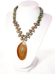 Agate Pendant Freshwater Pearl Bib Statement Necklace by KMagnifiqueDesigns on Etsy