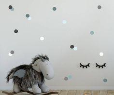 Nursery Wall Decals, Gray, Teal, Polka Dots, Baby Nursery Decor, Polka