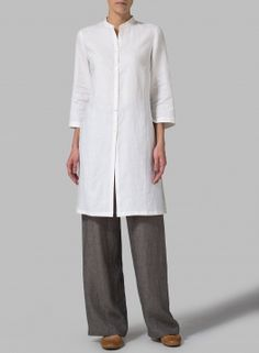 Linen Mandarin Collar Simple Long Blouse