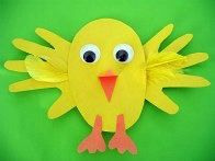 Handprint easter chick craft
