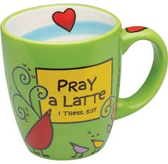 Pray a Latte Green Mug. Pray a Latte. Daily reminders help you build habits. Remind yourself to pray not a little…but a latte. Latte Mugs, Coffee Mugs, Vintage Dishware, Green Mugs, Joy Of The Lord, Coffee Talk, Unique Gifts For Women, Tea Cups, Faith