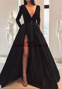 Product Sexy long-sleeved waist open slit maxi dress Brand Name Gracybee SKU Gender Women Style Elegant/Sexy/Fashion Type Evening Dresses Material Polyester Decoration Pure Color Please Note:All dimensions are measured manually with a deviation of 1 to Prom Dress Black, Black Evening Dresses, Maxi Dress With Slit, Sexy Dresses, Beautiful Dresses, Formal Dresses, Awesome Dresses, Dress Long, Dresses With Slits