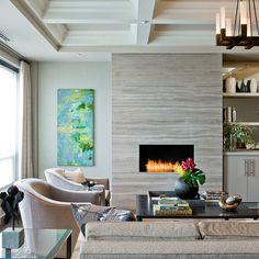 """Ann Sacks marble slabs athens silver cream 30""""x72"""" surround fireplace"""