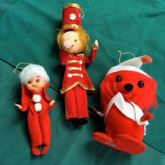Vintage Christmas Ornaments, 3 Charming Red Dressed Characters, Holiday Angel, Band Director and Christmas Dog, New Materials Japan (X6)