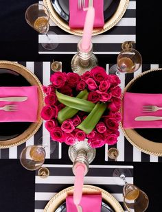 Pink & Black Table Setting