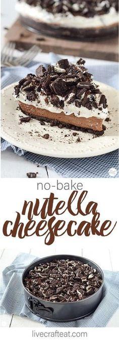 no bake oreo nutella cheesecake. a chocolate lovers dream come true!! | www.livecrafteat.com