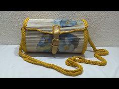 Bolso hecho con cartón y tubitos de papel periódico - YouTube