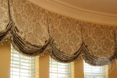 Great way to break up boring long thin windows - Custom Drapery Designs, LLC. - Valances