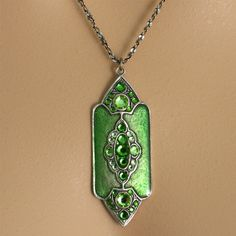 Anne Koplik Art Deco Jewelry - Brilliant Green Art Deco Pendant Necklace $32.95