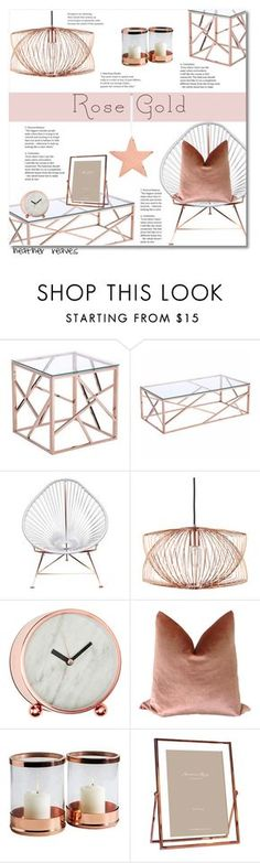 """""""Rose Gold"""" by heather-reaves ❤ liked on Polyvore featuring interior, interiors, interior design, home, home decor, interior decorating, Zuo, Innit, Nuevo and Interlude"""